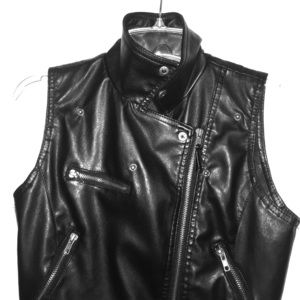 Black Faux Leather Zip Up Vest
